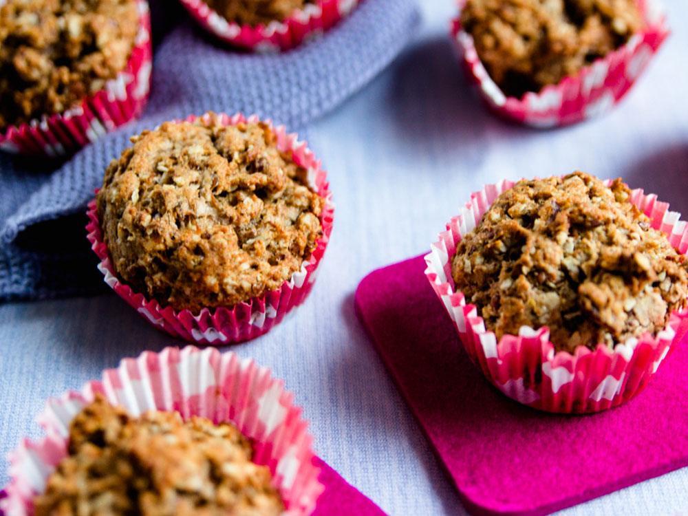 Veganen Muffins mit Birnen